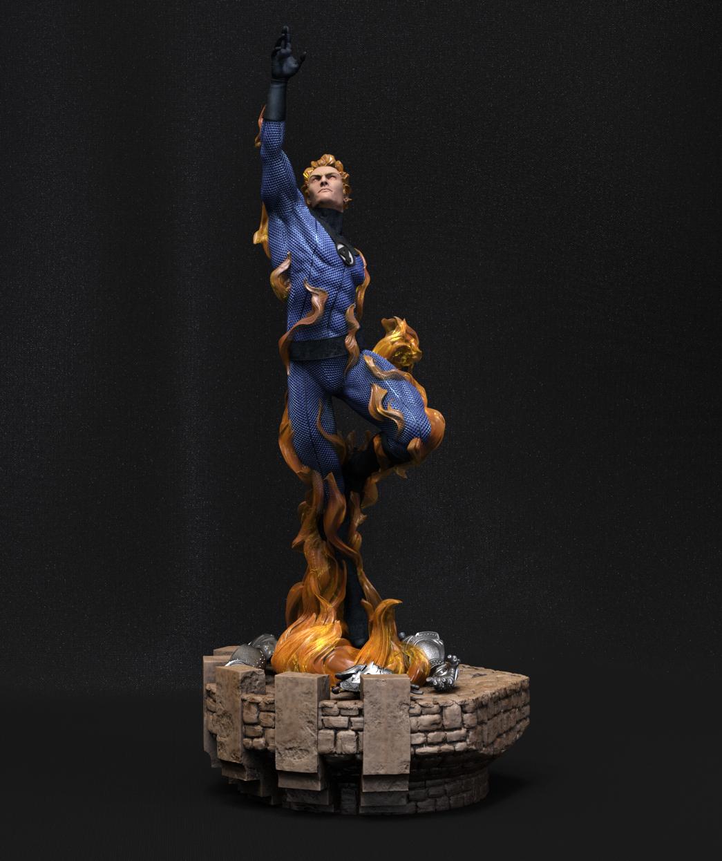 Escena 3D de los 4 Fantásticos: Hombre Antorcha