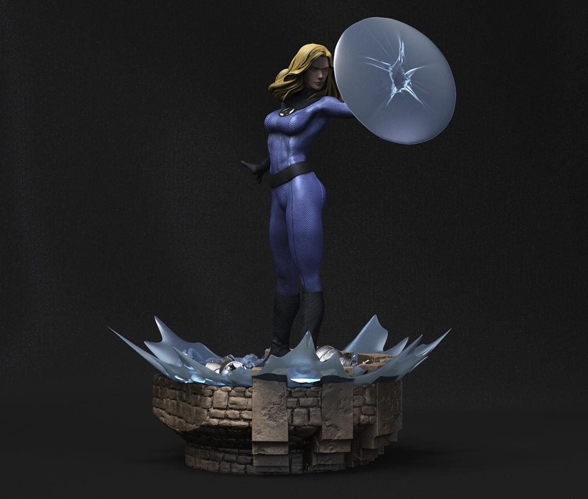 Escena 3D de los 4 Fantásticos: Mujer Invisible