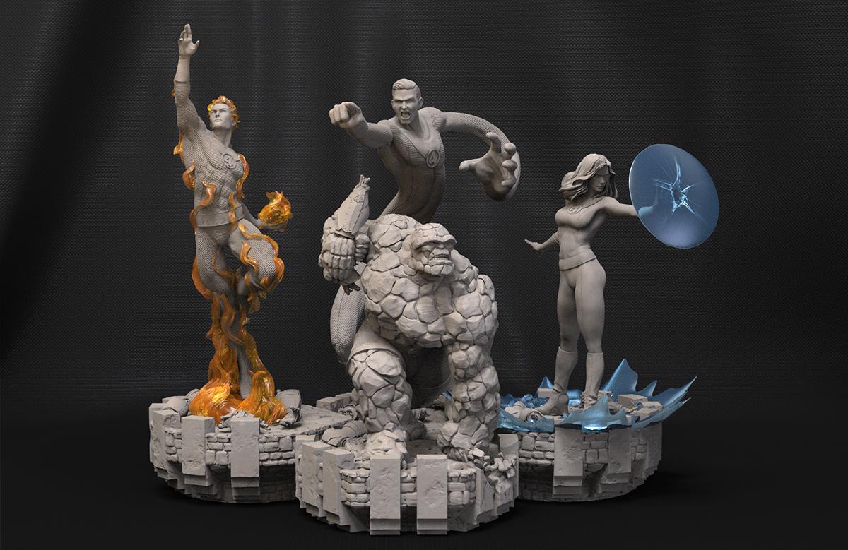 Escena 3D de los 4 Fantásticos