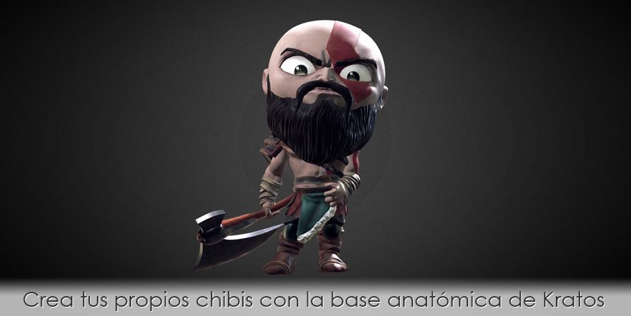 Crea tus propios chibis con la base anatómica de Kratos