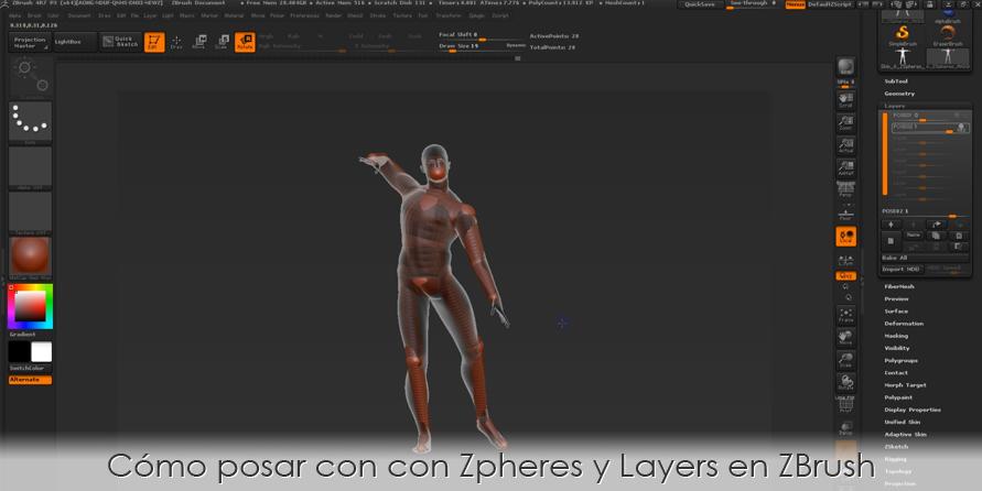 Cómo posar con con ZSpheres y Layers en ZBrush