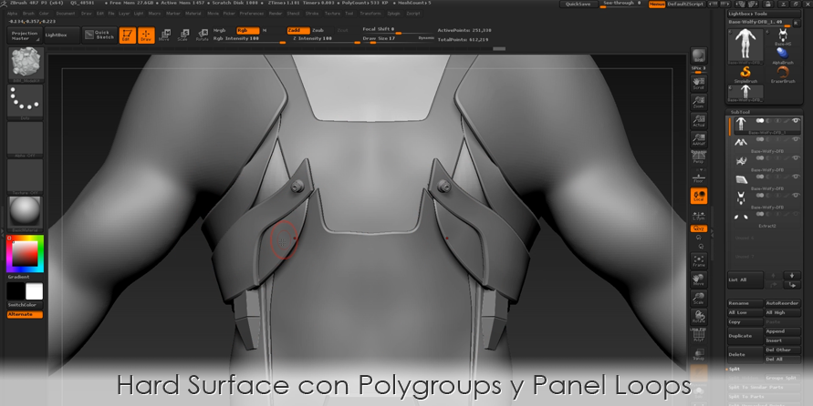Hard Surface con Polygroups y Panel Loops
