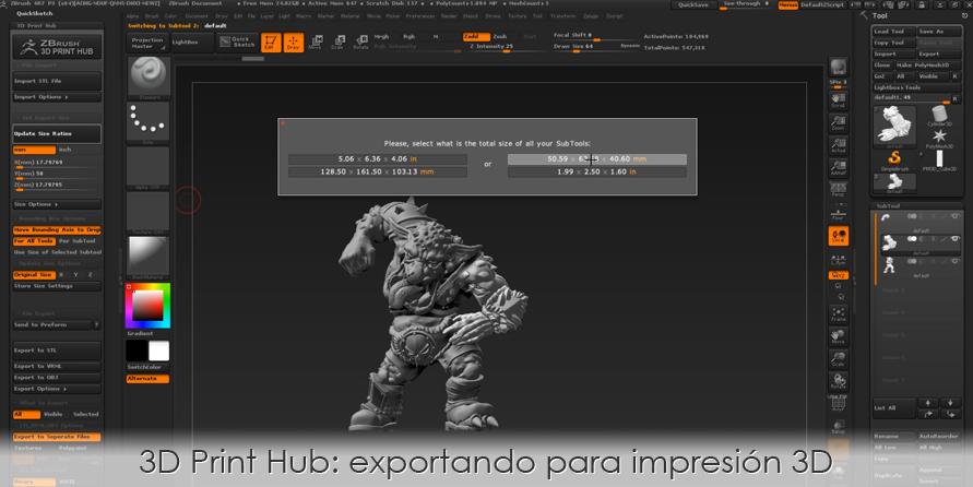 3D Print Hub: exportando para impresión 3D