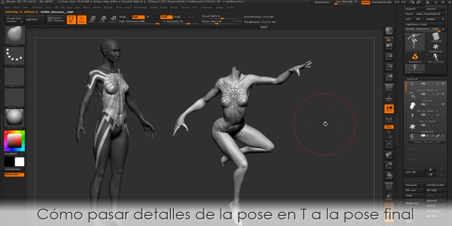 Cómo pasar detalles de la pose en T a la pose final