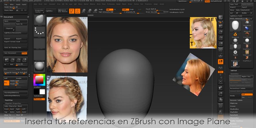 Inserta tus referencias en ZBrush con Image Plane