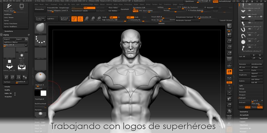 Trabajando con logos de superhéroes en ZBrush