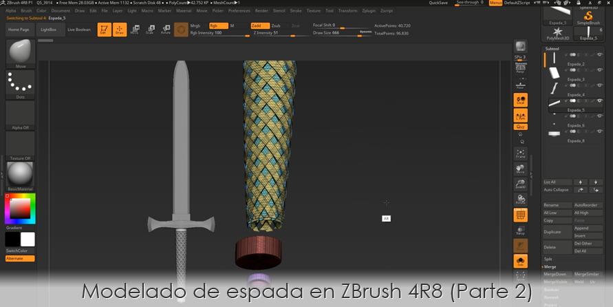 Modelado de espada en ZBrush 4R8 (Parte 2)