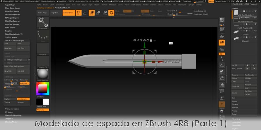 Modelado de espada en ZBrush 4R8