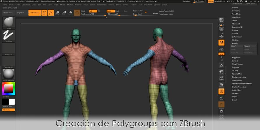Creación de Polygroups con ZBrush