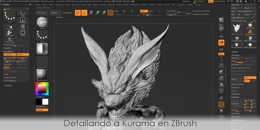 Cómo detallar en ZBrush a Kurama