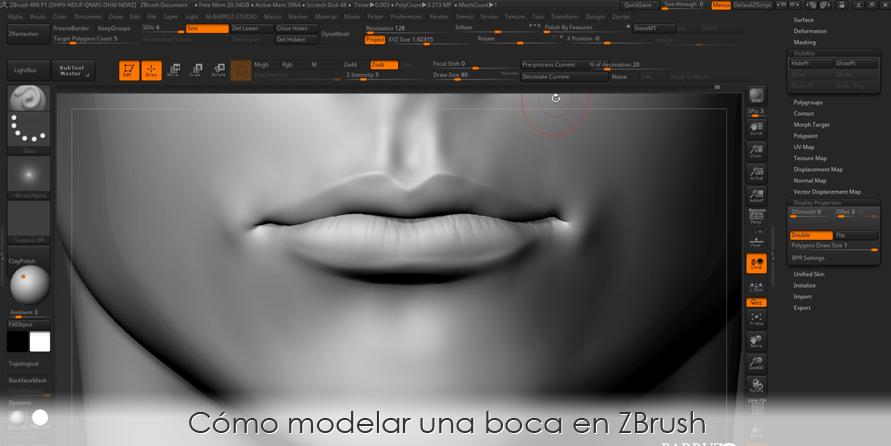 Cómo modelar una boca en ZBrush