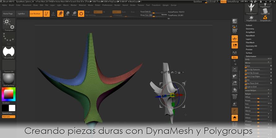 Creando piezas duras con DynaMesh y Polygroups