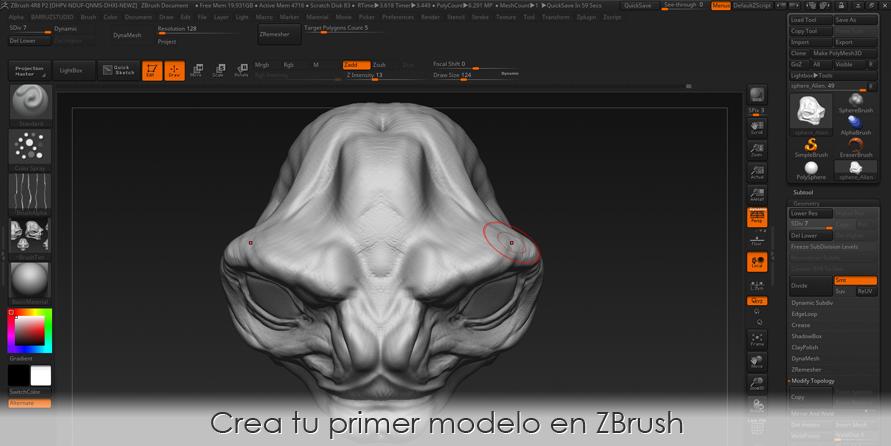 Crea tu primer modelo en ZBrush