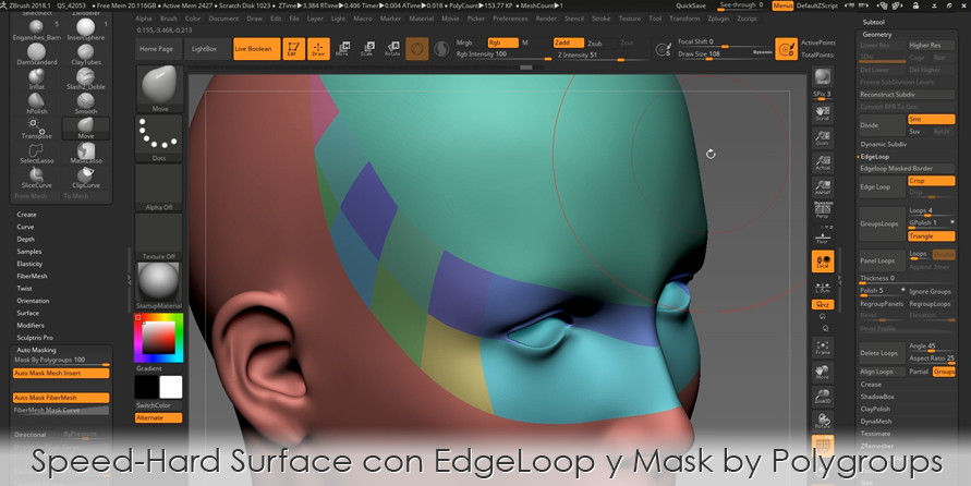 Speed Hard Surface con EdgeLoop y Mask By Polygroups