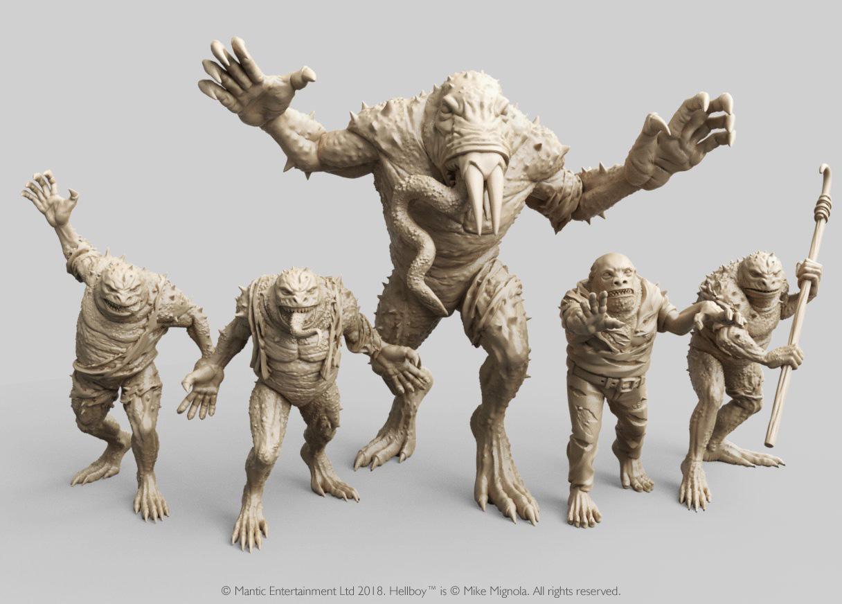 Miniaturas 3D de Hellboy personajes Hombres Rana