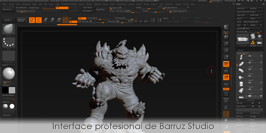 Interface de ZBrush profesional