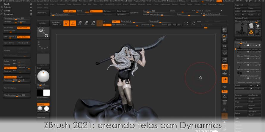 ZBrush 2021: creando telas con Dynamics