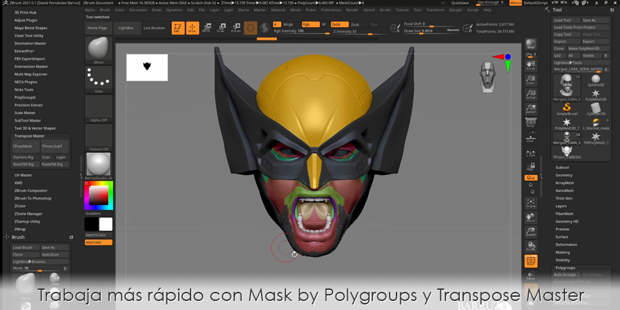 Trabaja más rápido en ZBrush con Mask by Polygroups y Transpose Master